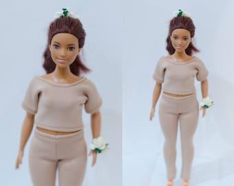 fashionistas curvy Barbie top and pants/ curvy Barbie clothes/ curvy Barbie leggings / curvy Barbie lt-shirt/ curvy Barbie beige clothes set