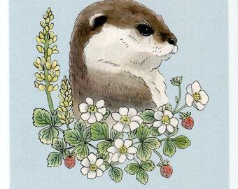 Otter with flowers & strawberries - 5x7 Mini Print