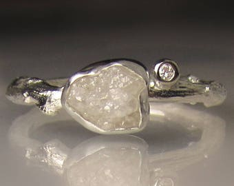 One of a Kind Raw Diamond Twig Ring, Rough Diamond Engagement Ring