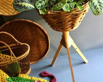 Vintage Mid Century Modern Tripod Planter with Woven Rattan Basket / Plant Stand / Large Planter - Vintage Mid Century / Bohemian Decor
