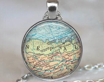 Nepal map pendant, Nepal map necklace Nepal pendant Mt Everest Katmandu map jewelry travel jewelry key chain key ring key fob