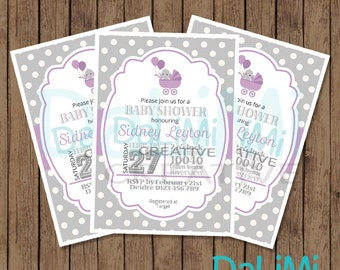 Baby Shower Invitation - Elephant Invitation - Purple invitation - Printable Invitation - Personalised - Digital File!