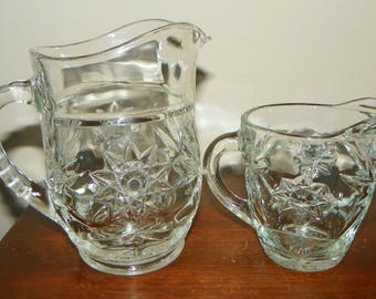 Pair of Clear Cut Lead Glass Starburst Pattern Pitchers -1950's
