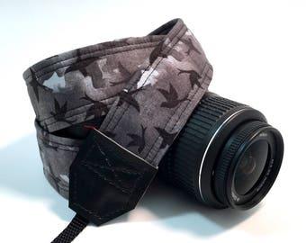 DSLR Camera Strap, Black Bird Camera Strap, Nikon Camera Strap, Canon Camera Strap, Graduation Gift, Wedding Gift, Travel
