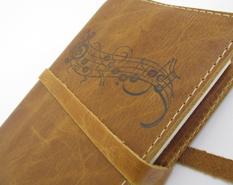 Leather Journal, Leather Sketchbook, writing Journal, Travel journal, Free Shipping, Personalized Journal, refillable, journals, music