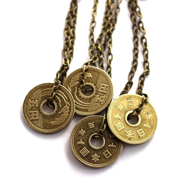Japanese coin necklace authentic undrilled 5 yen upcycled zoom mozeypictures Images