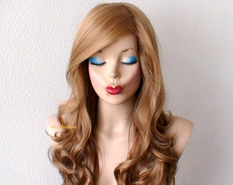 Honey blonde Ombre wig. Lace front wig. Long curly volume hair long side bangs Durable wig for everyday use or cosplay
