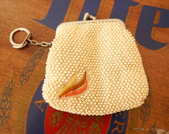 Vintage beaded Coin Purse/ 1970s Purse/ Coin Pouch/ 1970s Coin Purse/ Corde Purse/ Vintage Coin Purse/ Beaded Purse/ Retro Coin Purse