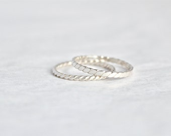 Sterling Silver Twisted Band Ring Set .  Simple silver ring.  midi ring.  Simple ring.  Everyday wear ring.