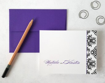 Personalized Stationery | Set of 8 Custom Note Cards | Wedding Anniversary Gift | Thank You Notes | Stationary Notecards | DAMASK PATTERN