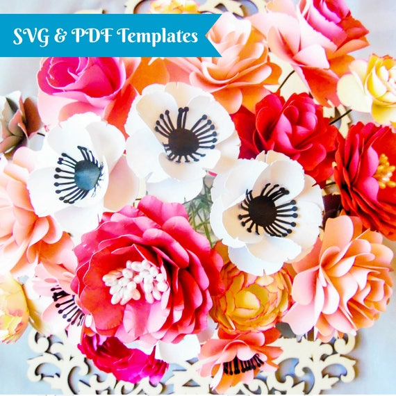Svg paper flower cutting files diy paper flower templates svg paper flower cutting files diy paper flower templates flower patterns tutorial diy paper flower bouquet instant download mightylinksfo Image collections