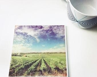 Vineyard Tile Trivet Kitchen Decor Cookware Ceramic Tile Hot Plate Housewarming Gift Scenic View Wine Winery Blue Sky