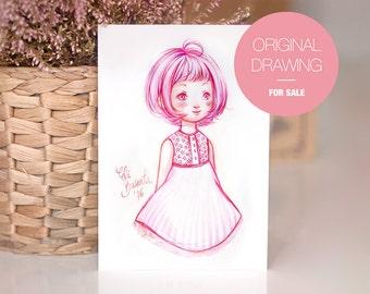 PINKY - Dibujo Original - Ilustración a acuarela. Obra única