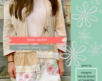 Jacket, Sewing Classes, PDF Tutorial, Upcycled Sewing, Refashion, Reclaimed, Repurposed, Sew, Online Class, Boho, Tutorials, Patterns, Plus