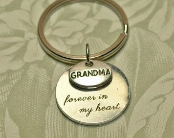 Memorial Keychain 3 Charms -- Forever in my heart -- Grandma, Mother, Daughter, Friend, Sister, Aunt -- Engraved Keychain --Memorial  Mom