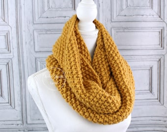 Knit infinity scarf, Mustard cowl, Chunky scarf, Winter scarf, Ready to ship, Seed stitch, Neck warmer, Womens Scarf, Ladies knit cowl,
