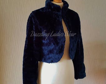 Navy Blue Long Sleeved Faux Fur Bolero / Shrug / Jacket / Shawl / Wrap / Weddings Satin Lining - UK 4-24
