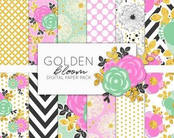 Golden Bloom Digital Paper Pack   Scrapbook Paper   Printable Background   12 JPG, 300dpi files.