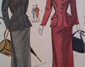 Vintage McCall 7418 Sewing Pattern Size 18 Womens Two-Piece Suit 1948 Sewing Pattern.