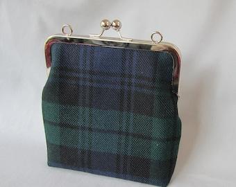 Black Watch Wool Tartan Evening Bag with Black Cotton Lining Made in Scotland