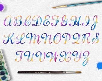 Arc-en-lettres, Alphabet aquarelle numérique, arc en ciel aquarelle police de majuscules, lettres aquarelle Clip Art, police de calligraphie, BUY5FOR8