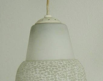 vintage 50s/60s adjustable pending lamp with white frosted glass shade