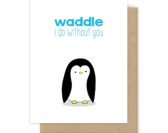 Goodbye Card For Friend Her Him I Miss You Cute Funny Penguin Pun Farewell Leaving Moving Going Away Thinking of Handmade Greeting Cards