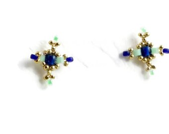 Embroidered earrings blue gold and green/tiny earrings