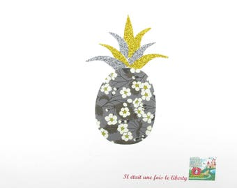 Applied fusible liberty pineapple fabric liberty Mitsi grey flex glitter green patch iron on applique liberty seamless badges