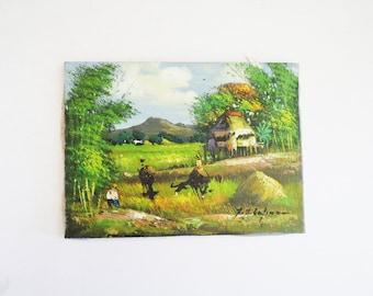 Asian Pacific Landscape // Small Southeast Asian Landscape Painting // Vintage Home Decor