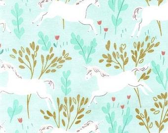Magic by SARAH JANE - Unicorn Forest - Turquoise - 1/2 Yard