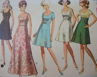 Vintage 1960s Simplicity sewing pattern 8539 misses dress in two lengths size 12