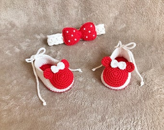 Crochet Baby Minnie shoes and headband set  - Baby headband - Crochet shoes - Baby Shoes - Baby girl set - Baby girl shoes- photo shoot