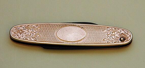 Antique C 1900-10 Made In U S A Ladies or Gent's FOLDING POCKET Fruit KNIFE Gold Filled 2 Blades No Initials Etched w/ Floral Design