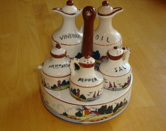 Dutch Scene Condiment Set with Holder - Made in Japan