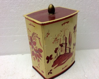 Vintage Tin Container Western Germany Decorative Canister Mid Century Home Decor