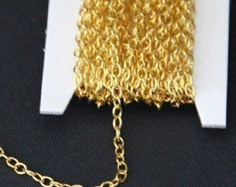 15 ft of Gold Plated round cable chain 2.6X3.9mm unsoldered