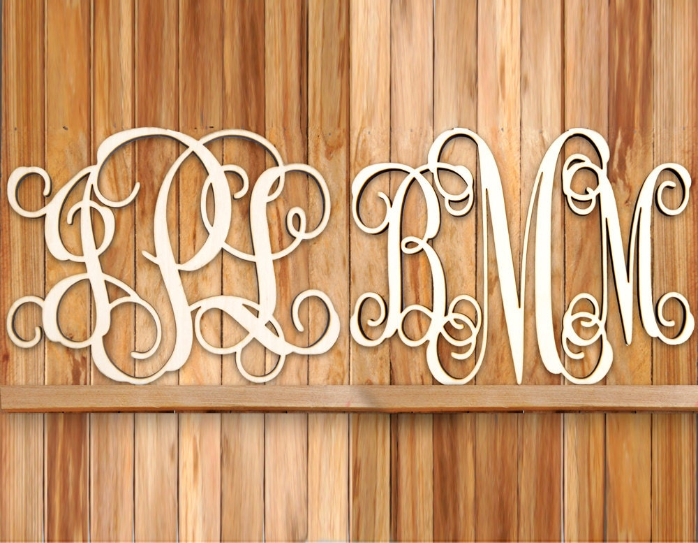 Home Decor For Sale: SALE For 2 Monograms Unpainted Vine Script Home Decor