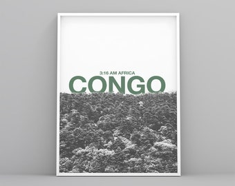 Congo Printable poster, lifestyle art print, modern, Scandinavian, forest poster, digital file, landscape decoration, black and white poster