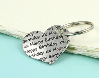 Happy Birthday gift, Heart Keyring Gift in Pewter makes a great gift for a special Birthday, personalised birthday gift.