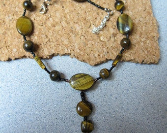 Tigers Eye Pendant 16 inch Beaded Necklace non tarnish antique copper wire