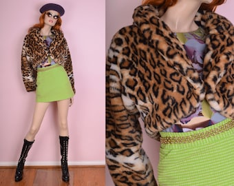 90s Leopard Print Cropped Jacket/ Medium/ 1990s