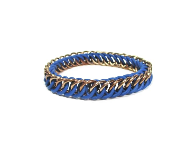Ravenclaw Bronze & Blue Harry Potter Themed Stretchy Chainmaille Bracelet - Half-Persian 4-in-1