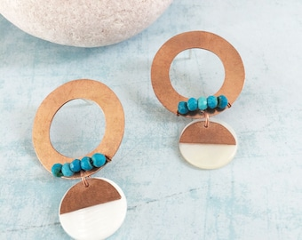 Open circle copper earrings - boho chic stud earrings - geometric earrings - turquoise and mother of pearl - dangle and drop- modern jewelry