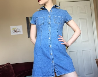 vintage denim dress - size small to medium