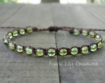 LATE SHIP Peridot macrame bracelet august birthstone healing gemstones yoga bracelet earthy bracelet stacking bracelet