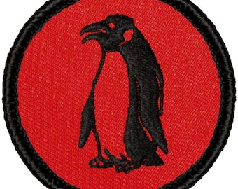 Red & Black Penguin Patch - 2 Inch Diameter Embroidered Patch