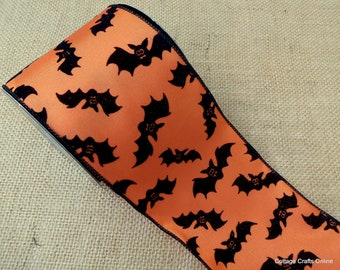 "Halloween Wired Ribbon, 4""  Flocked, Glittered Black Bats on Orange - TEN Yard Roll - d. stevens ""Bats"" Wire Edged Ribbon"