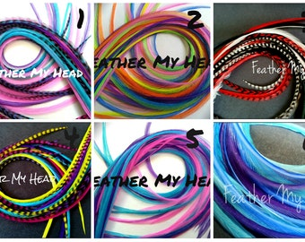 "Feather Hair Extensions 6 Pc Super Long 11 to 14"" (27.94-35.56cm) Premium Grade DIY Kit"