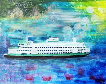 Pacific Northwest, Puget Sound Ferry, Puget Sound, Ferry Art, Seattle Art, Pacific Northwest Art, Home Decor, Print, 8x10, Art Print, Nature